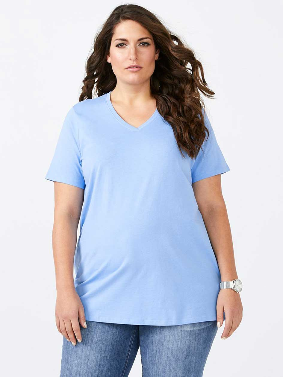 Girlfriend Fit Basic V-Neck T-Shirt - d/C JEANS