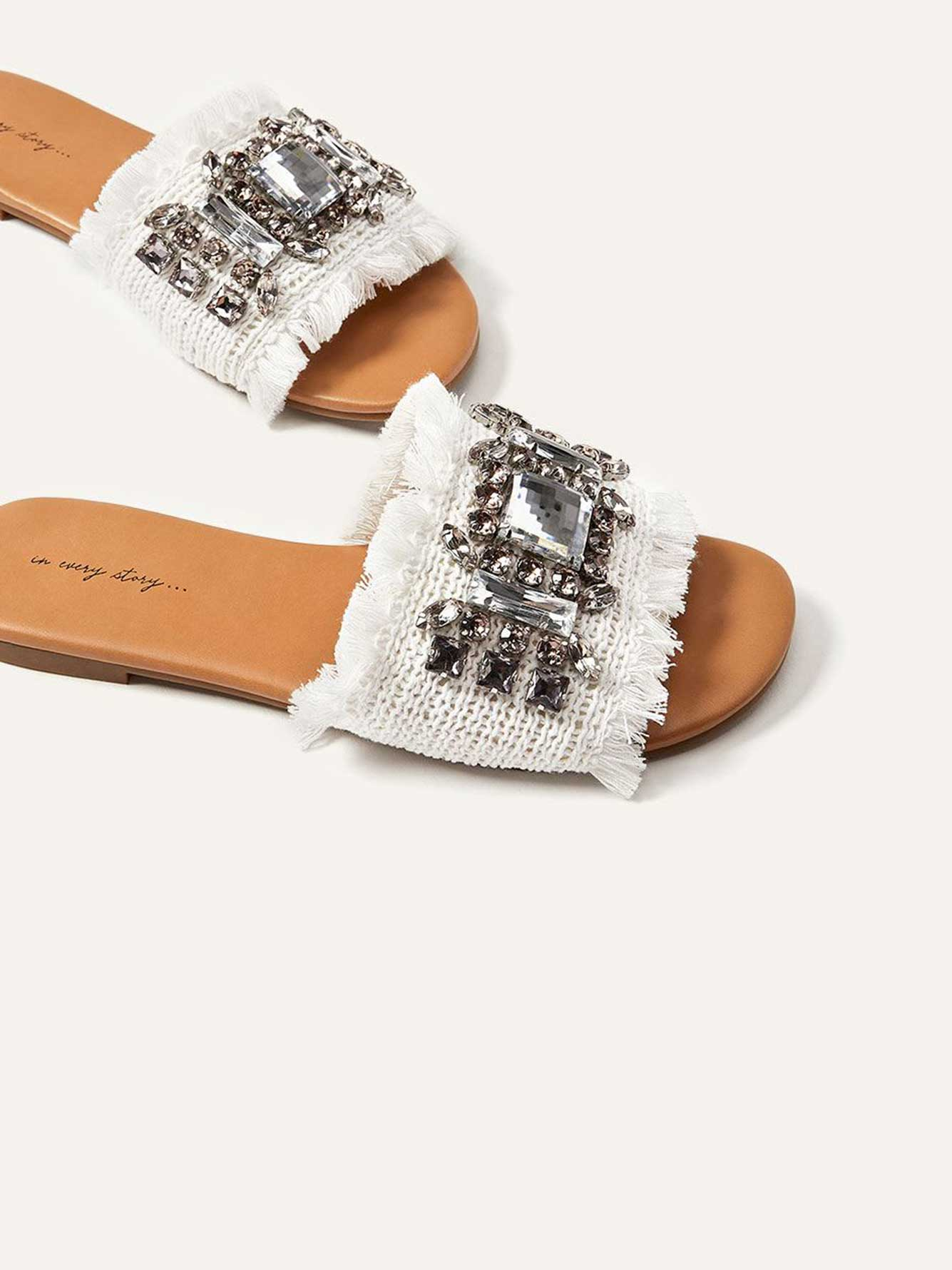 Wide Slide Sandals with Embellishment