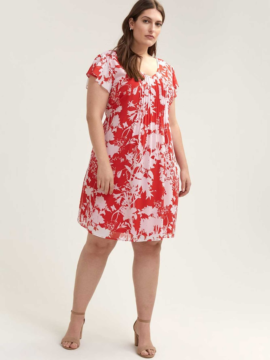 Printed Flutter Sleeve Dress with Pintucks - In Every Story