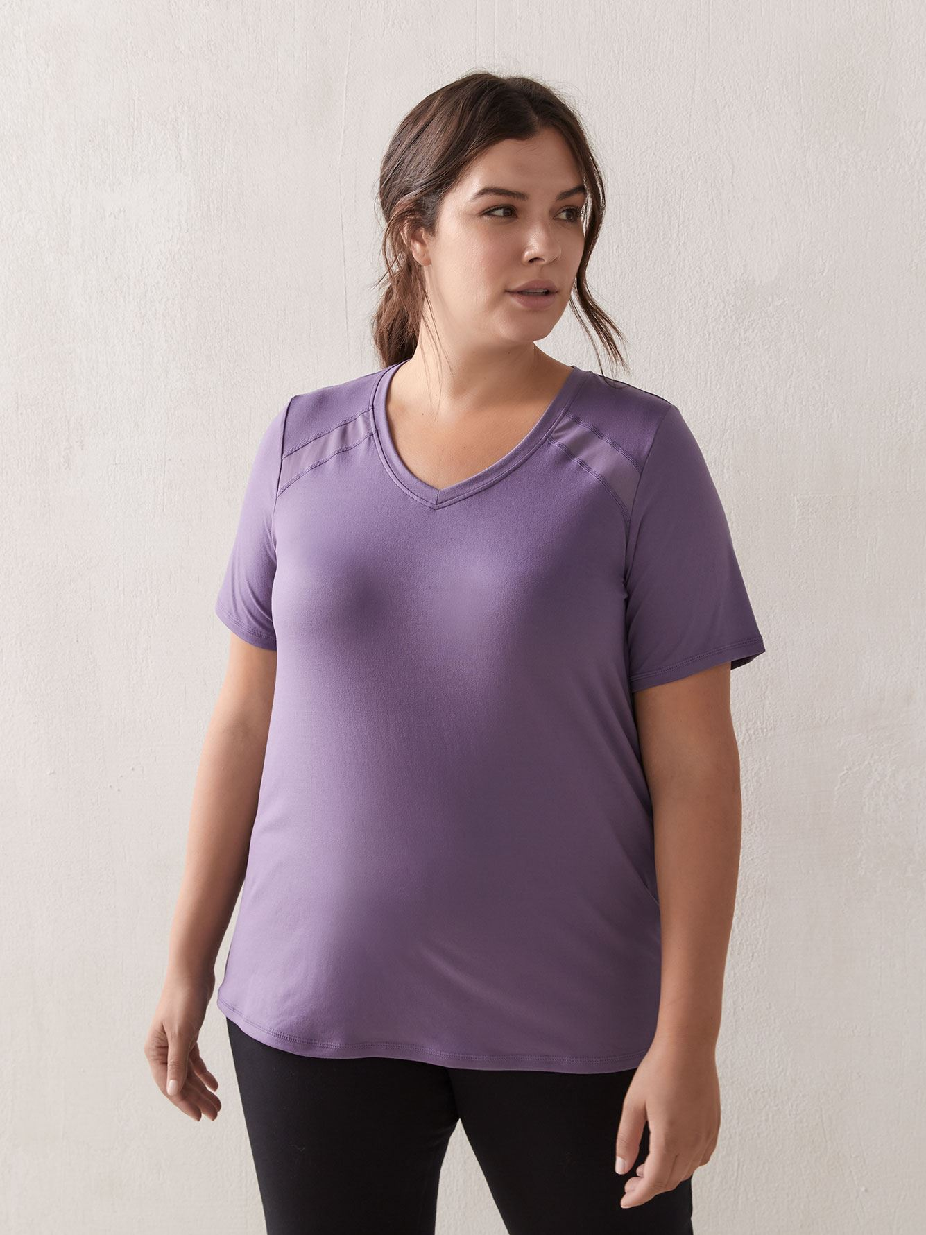 Sueded T-Shirt with Mesh Inserts - ActiveZone