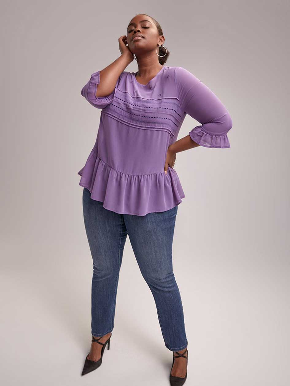 3/4 Sleeve Popover Peplum Blouse with Beads - d/C JEANS