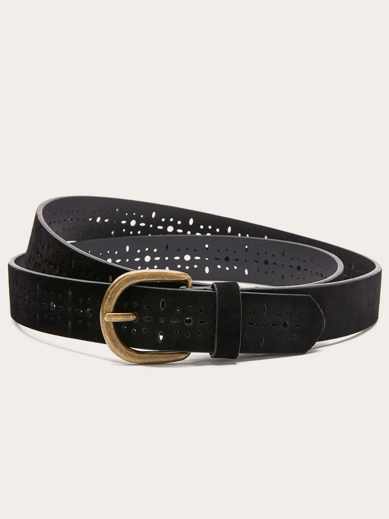 Perforated Faux-Suede Belt