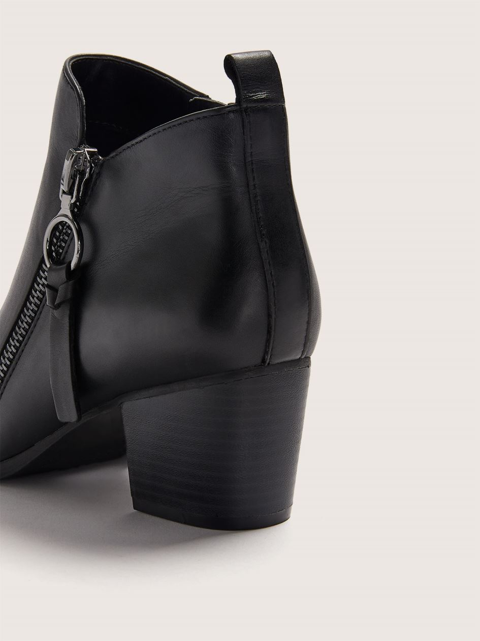 Wide Leather Bootie with Ring Detail - Addition Elle