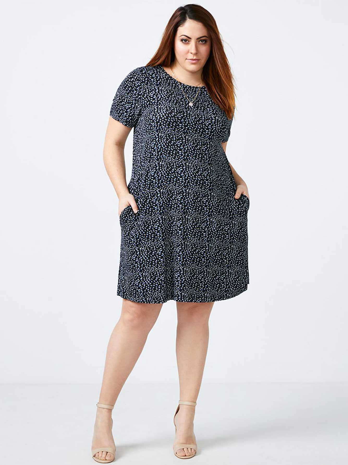 Short Sleeve Printed Swing Dress - In Every Story
