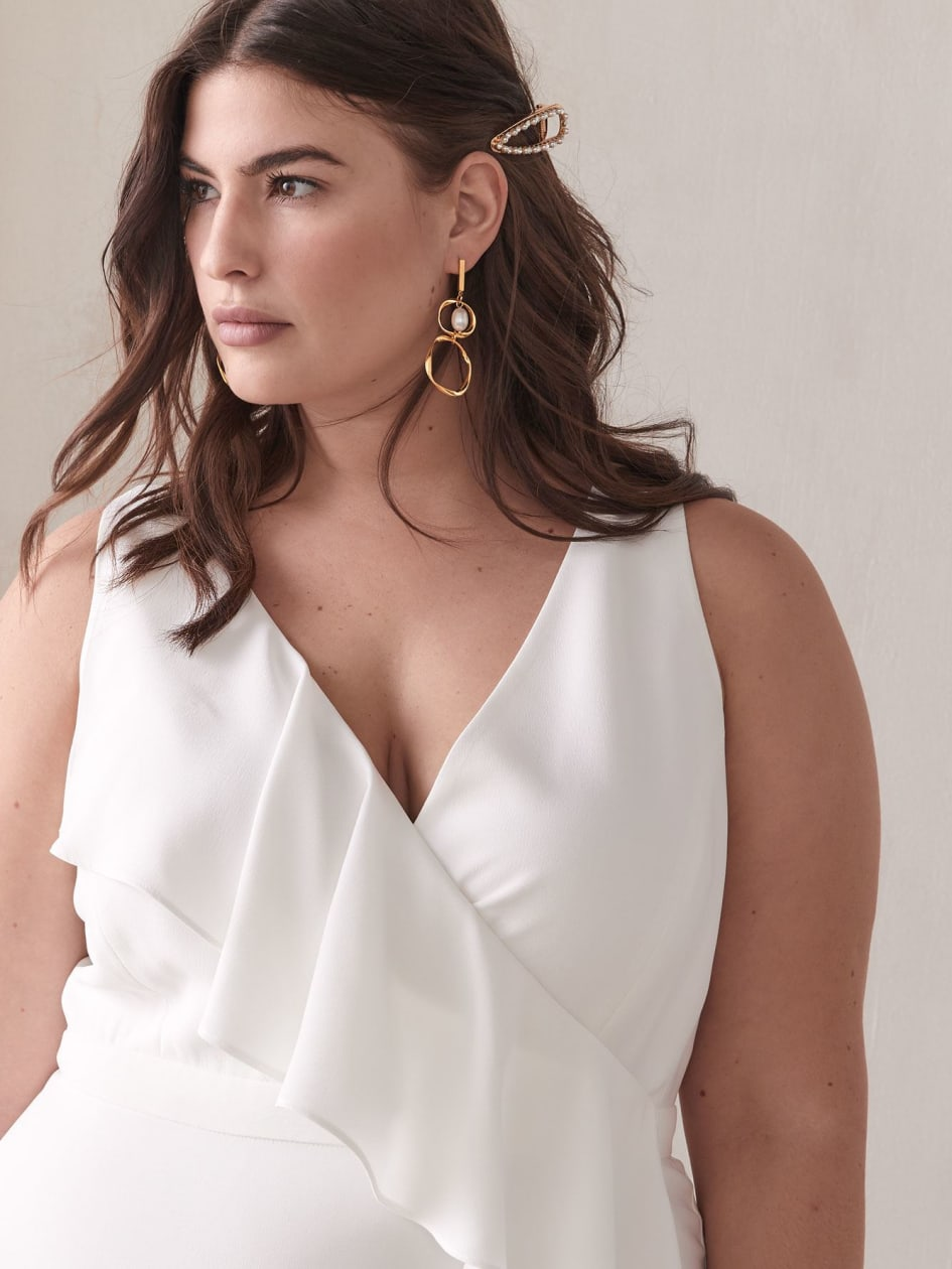 White Maxi Dress with Front Ruffle - Addition Elle
