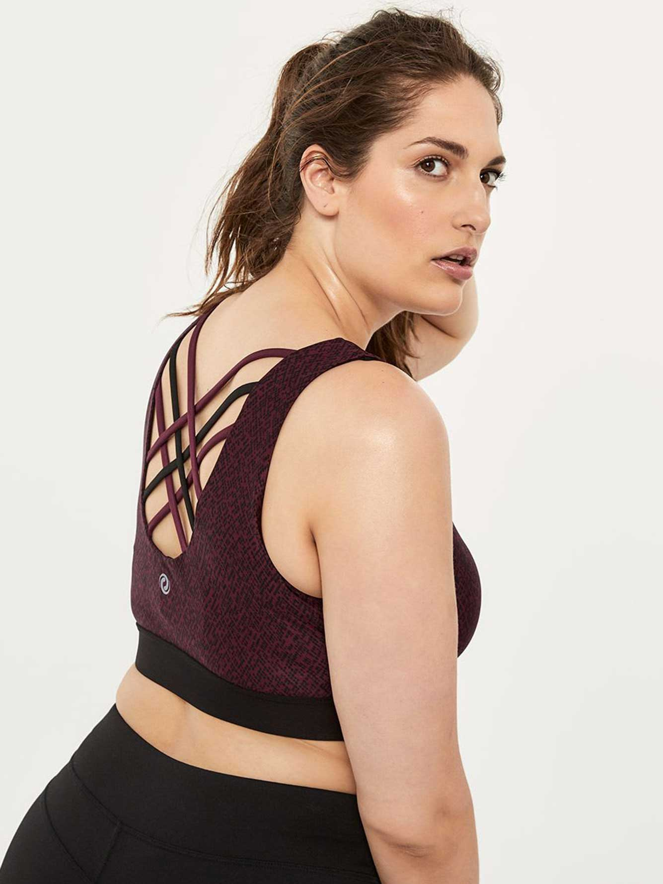 86e442bd8887f Printed Plus-Size Sports Bra with Back Straps - ActiveZone