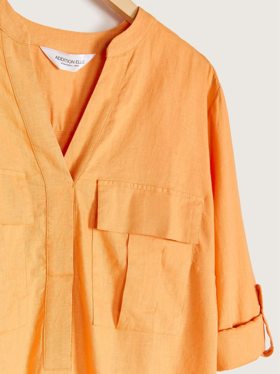 Solid Linen Popover Tunic Blouse - Addition Elle
