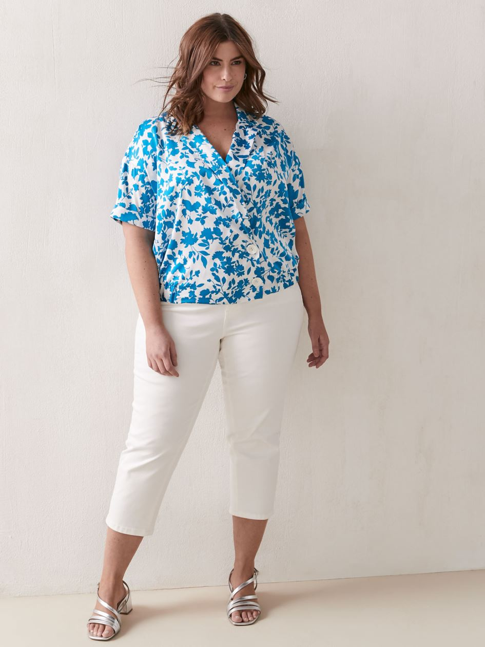 Printed Short Sleeve Blouse - Addition Elle