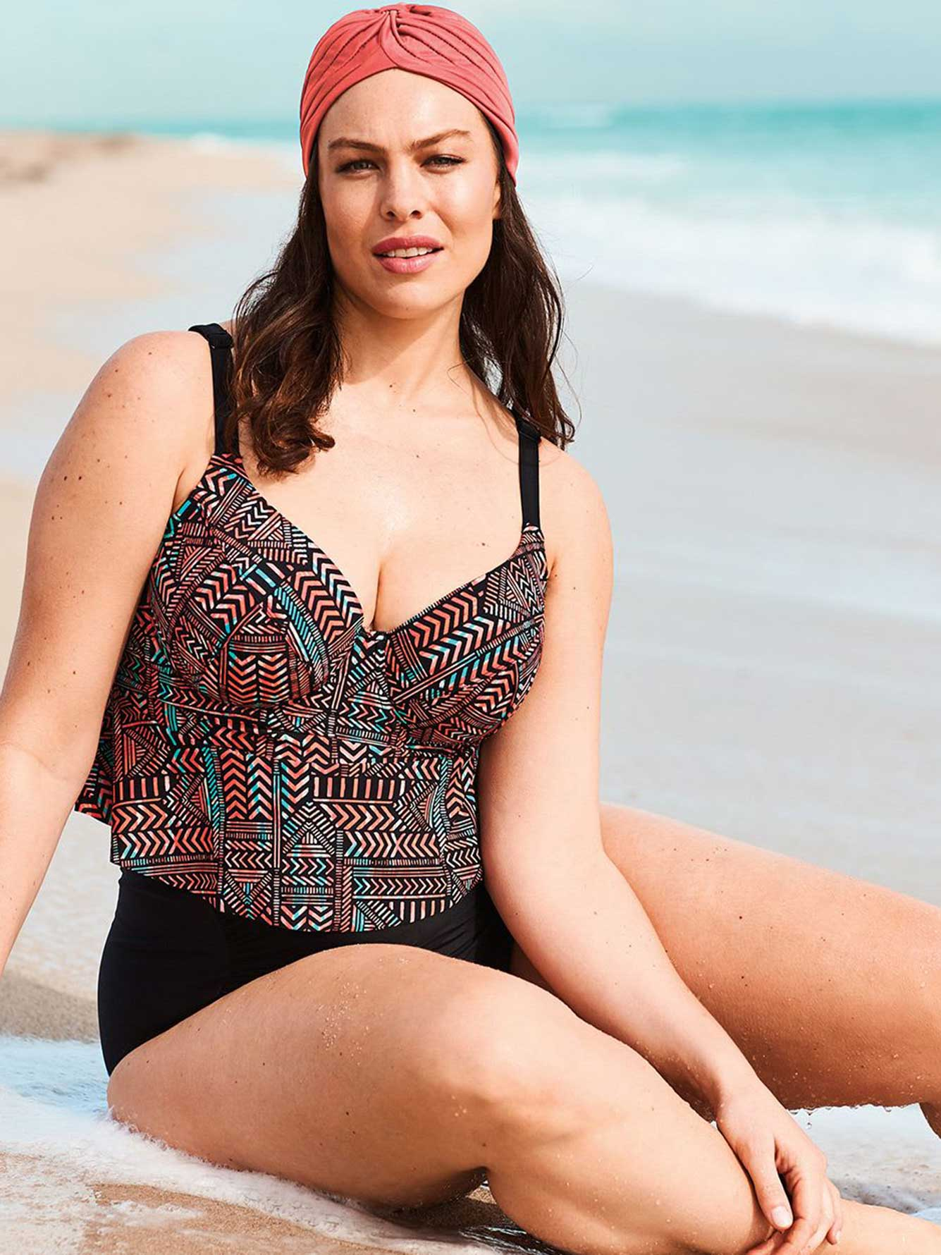 Printed Tankini Swim Top with Ruffles - Sea