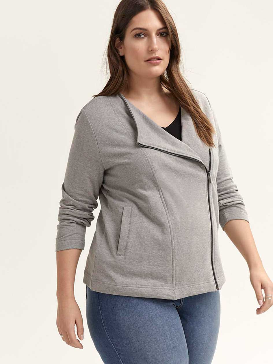 French Terry Cardigan with Asymmetrical Zip - d/C JEANS