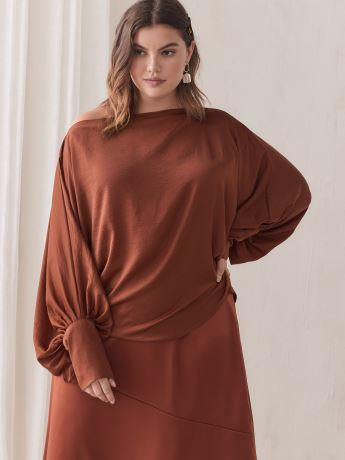 Long-Sleeve Boat-Neck Blouse - Addition Elle