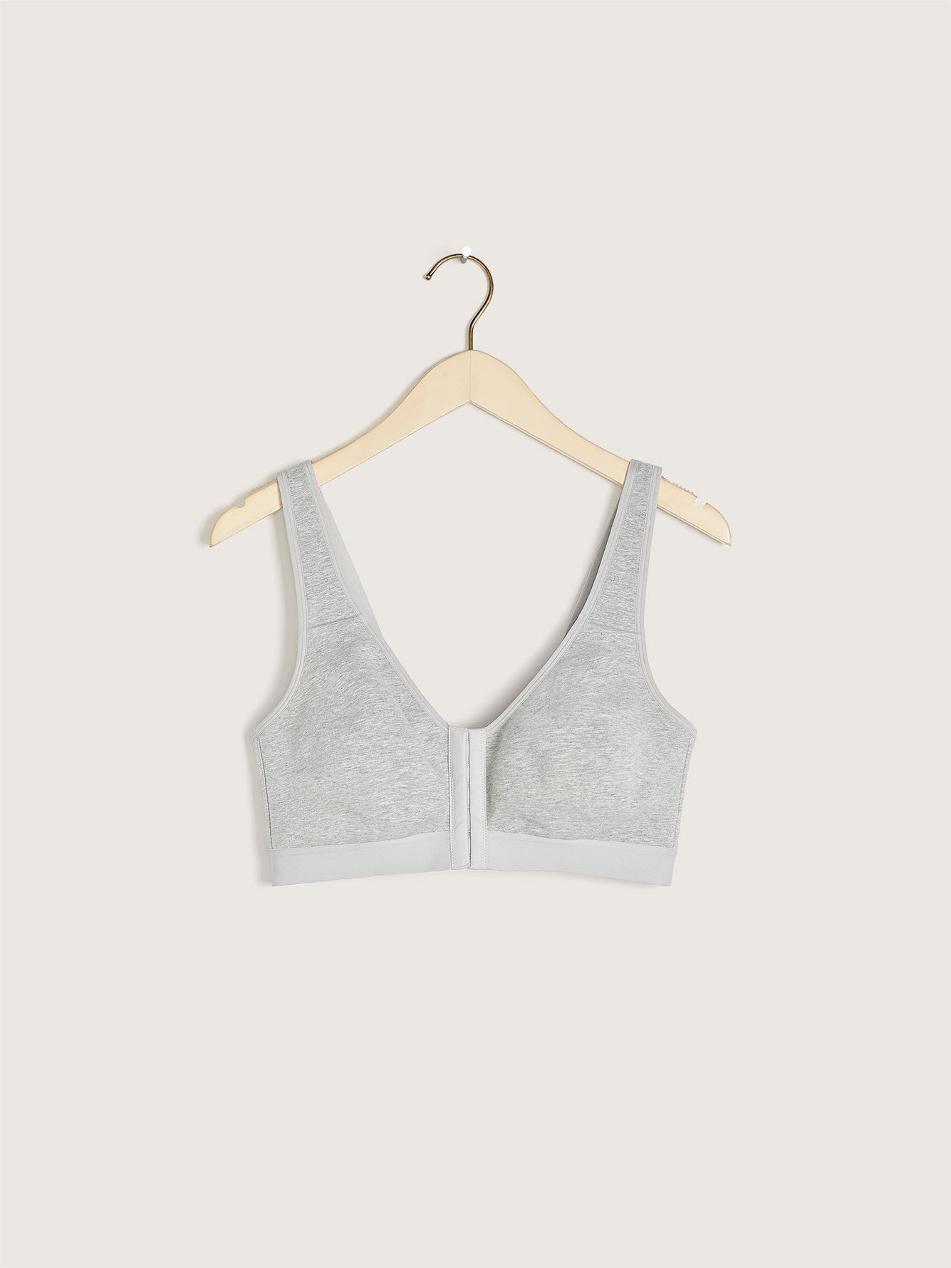 Front Closure Wirefree Heathered Cotton Bra
