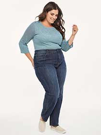 Curvy Fit Straight Leg Jean with Embroidery - d/C JEANS