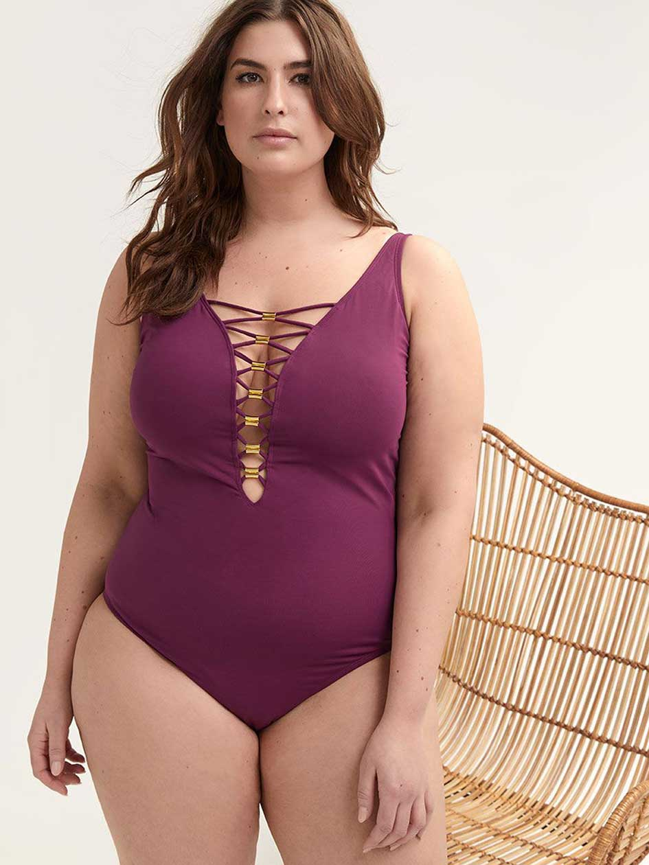 One-Piece Swimsuit with Laced details - Bleu Rod Beattie