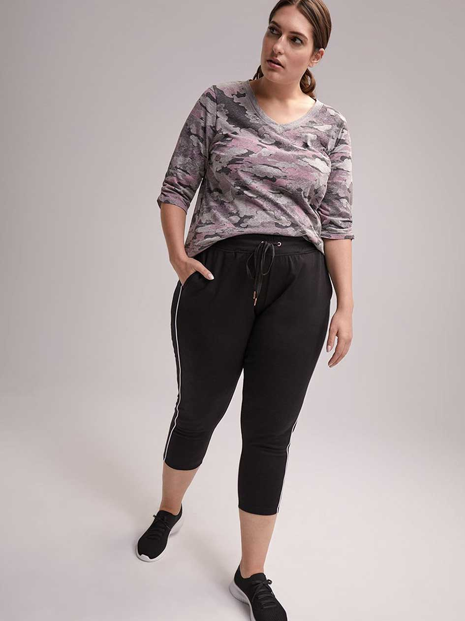 Petite Plus Size Side Striped Relax Pant - ActiveZone