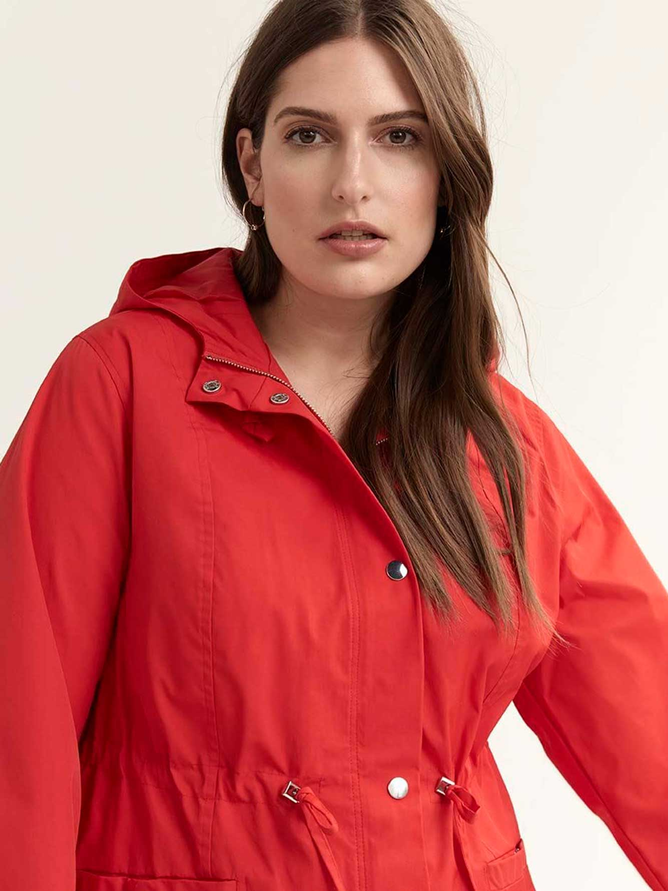Mid-Length Parka Rain Jacket with Hood - In Every Story