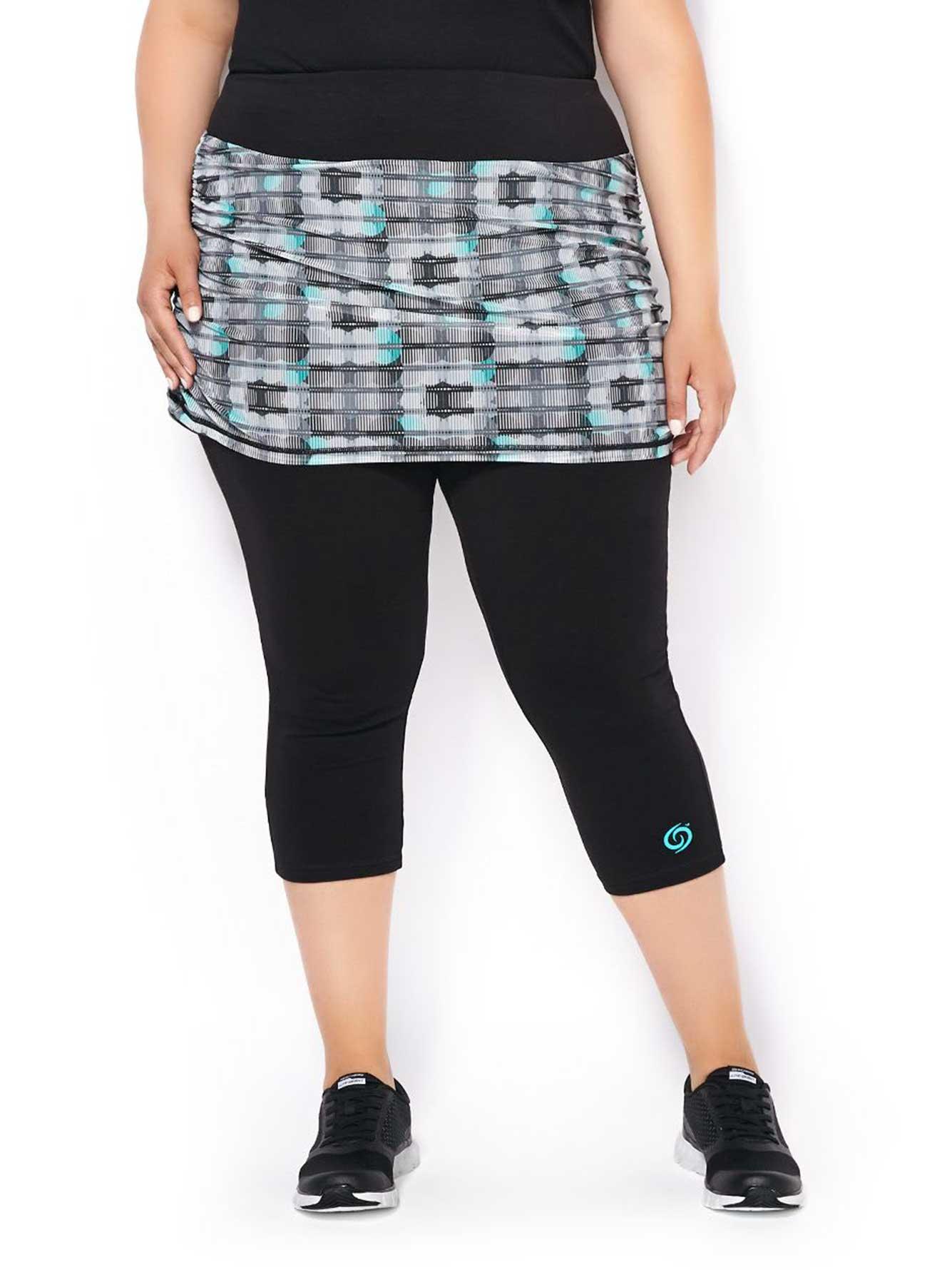 activezone plus-size capri legging with mesh skirt | penningtons