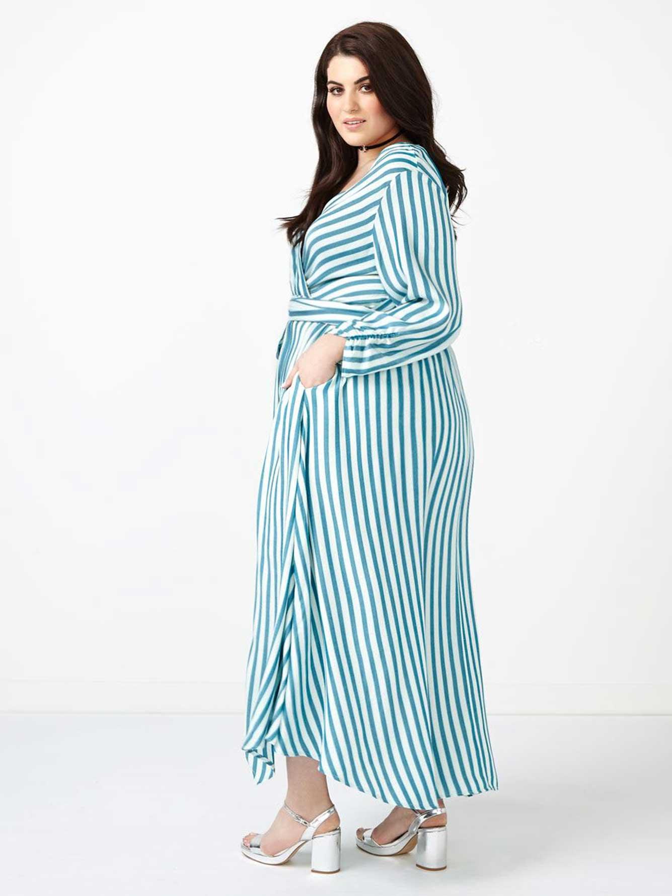 9c8f80ccdc3 MELISSA McCARTHY Striped Wrap Maxi Dress