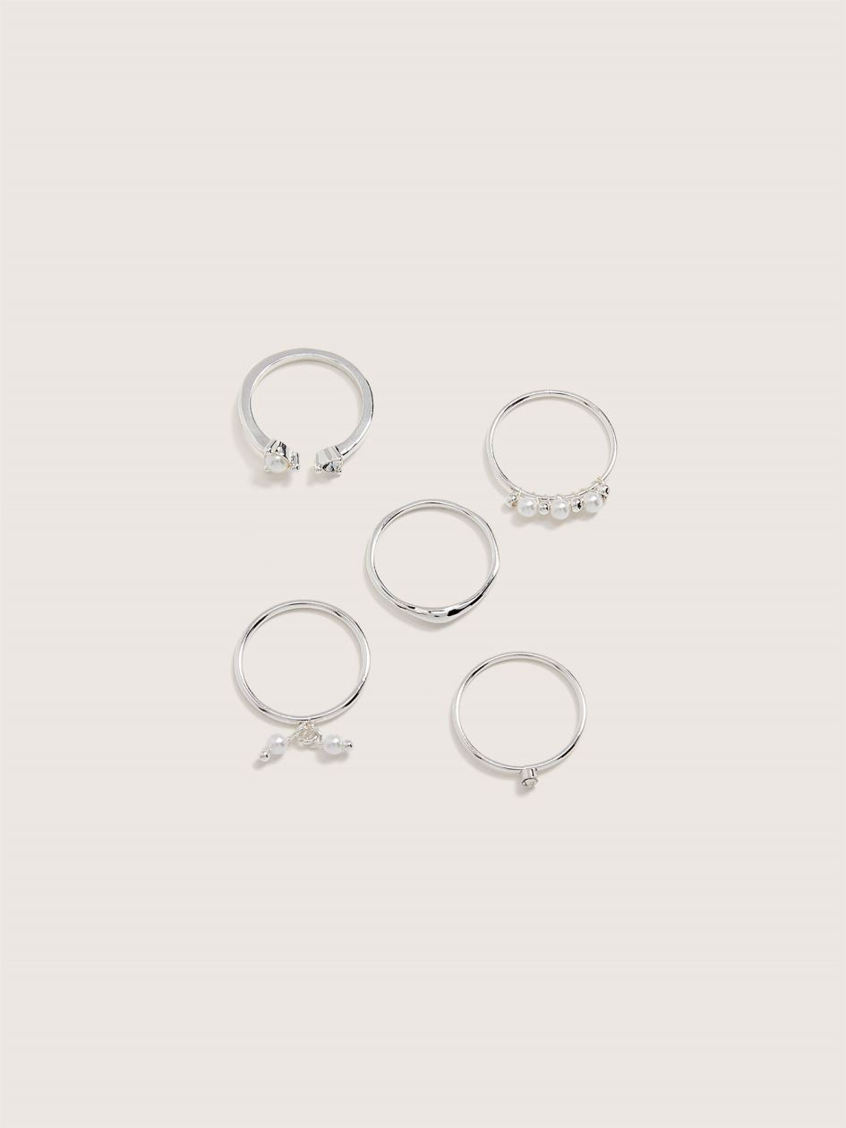 Real Silver Plated Rings, 5-Pack - Addition Elle
