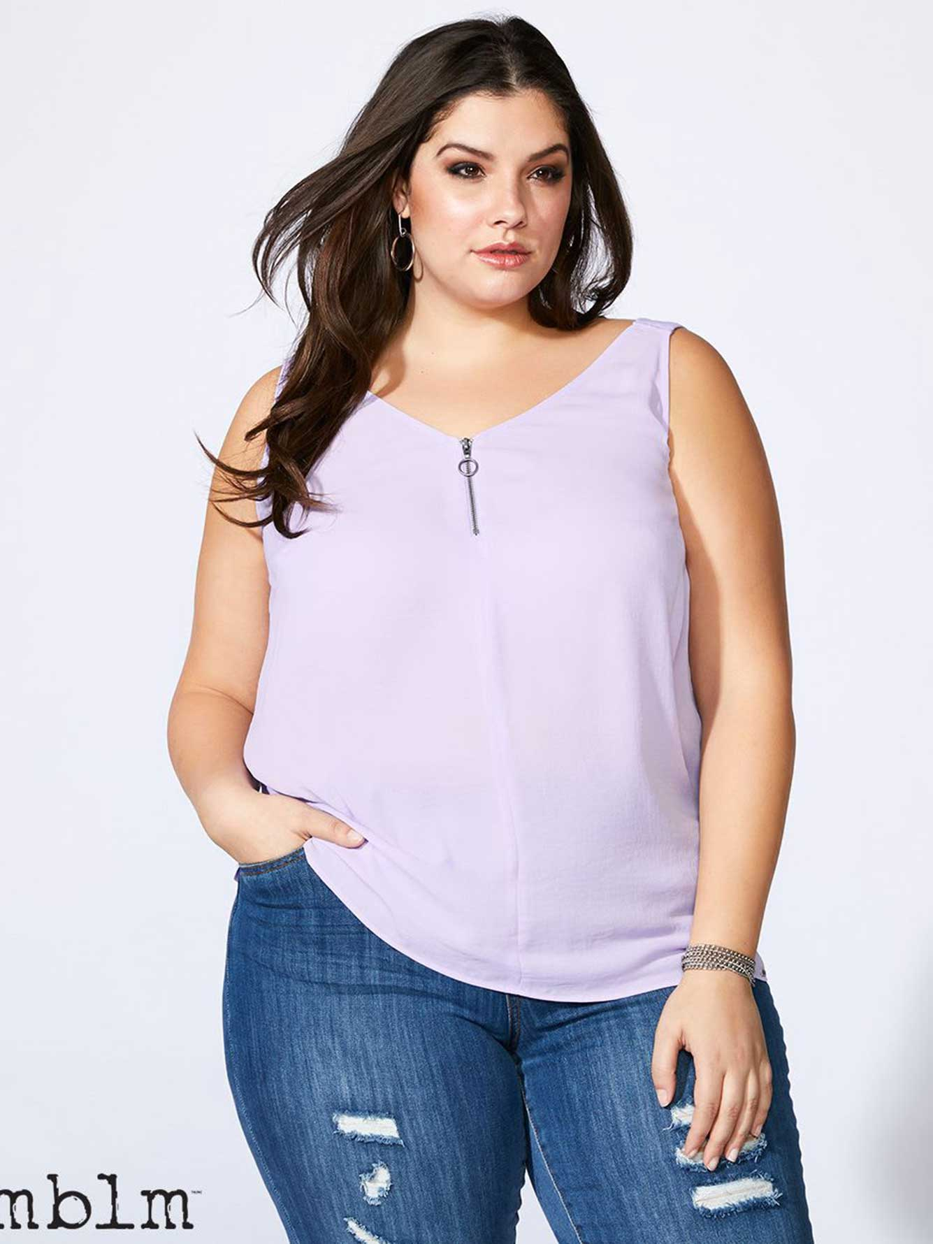 mblm - Sleeveless Blouse with Zip