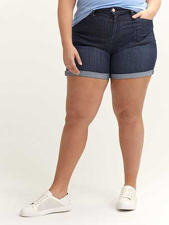 Slightly Curvy Denim Short with Rolled Cuffs - d/C JEANS