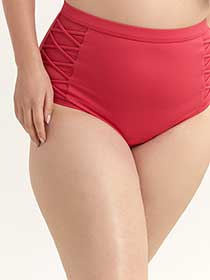 High Waist Swim Bottom with Criss-Cross Detail - Sea