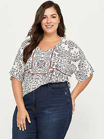 Printed Blouse with Tie at Back - d/C JEANS