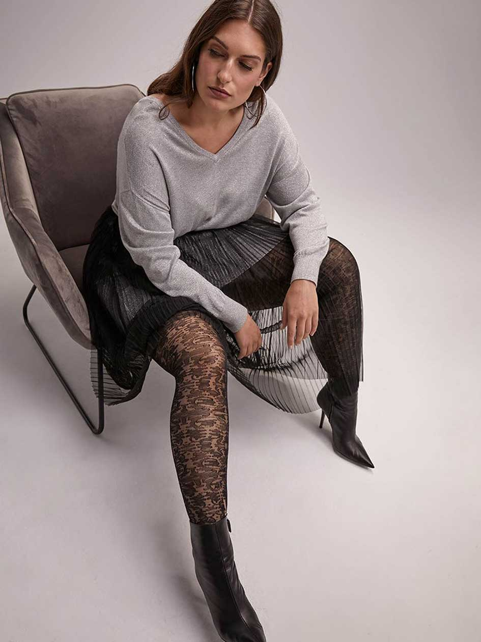 Sheer Tights with Sewn-In Panel