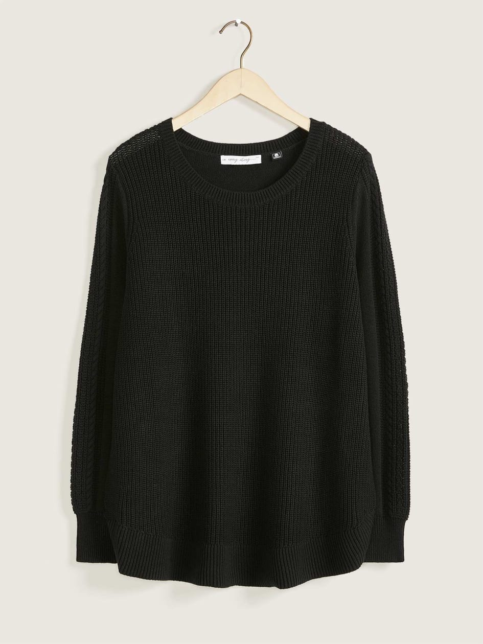 Long Sleeve Sweater with Wide Crew Neckline - In Every Story