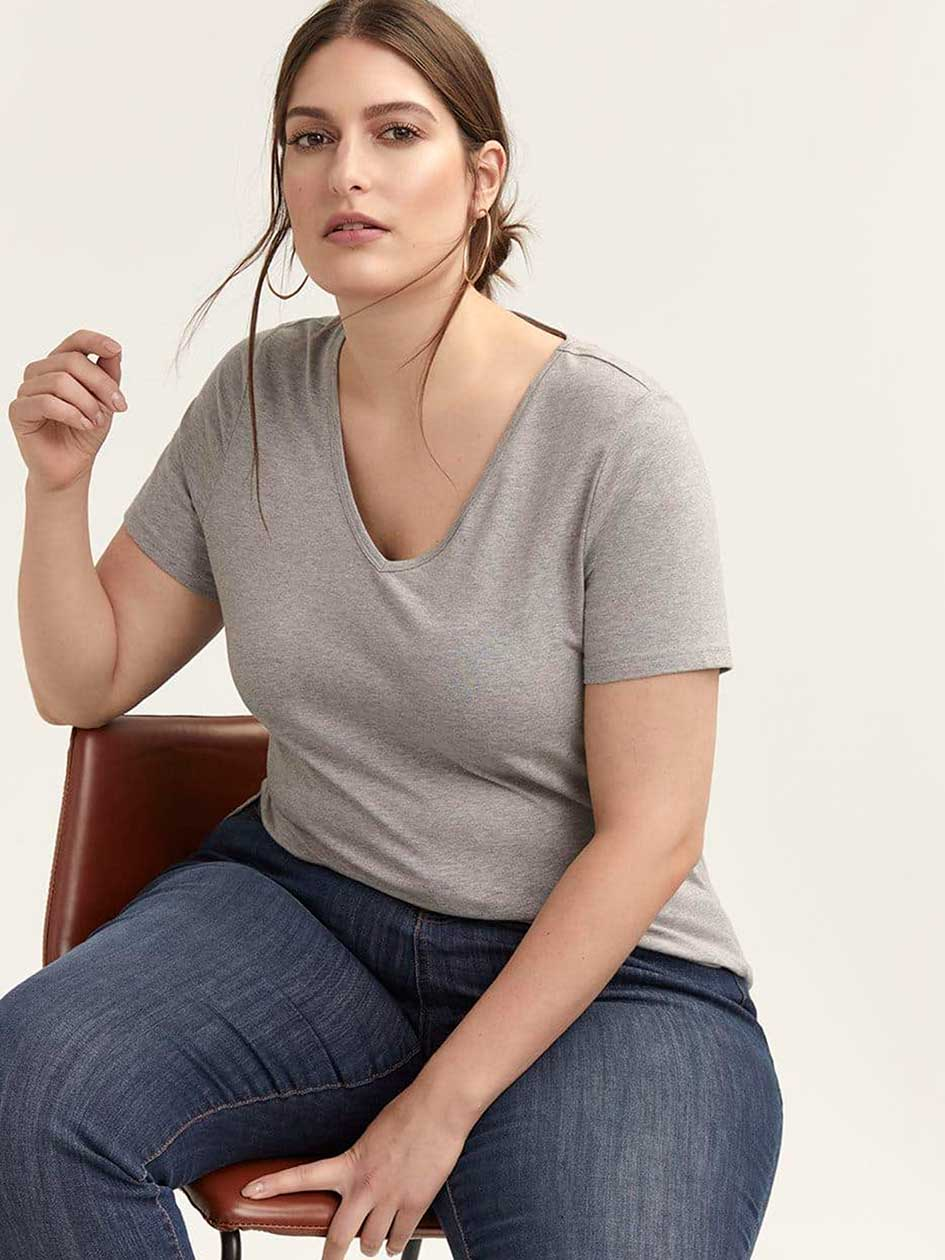 Layering Fit Basic V-Neck T-Shirt - d/C JEANS