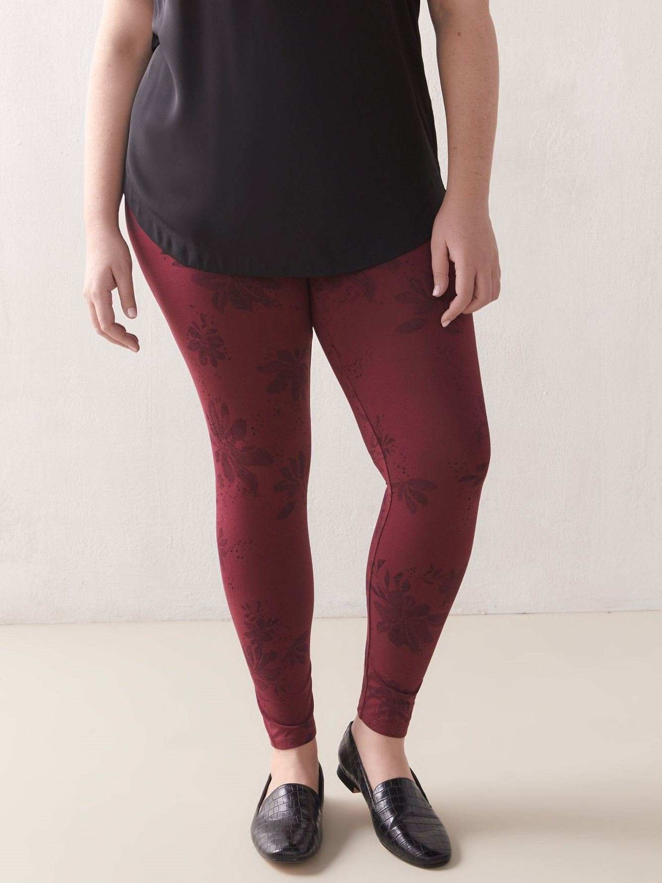 Wide Waistband Printed Legging - Addition Elle