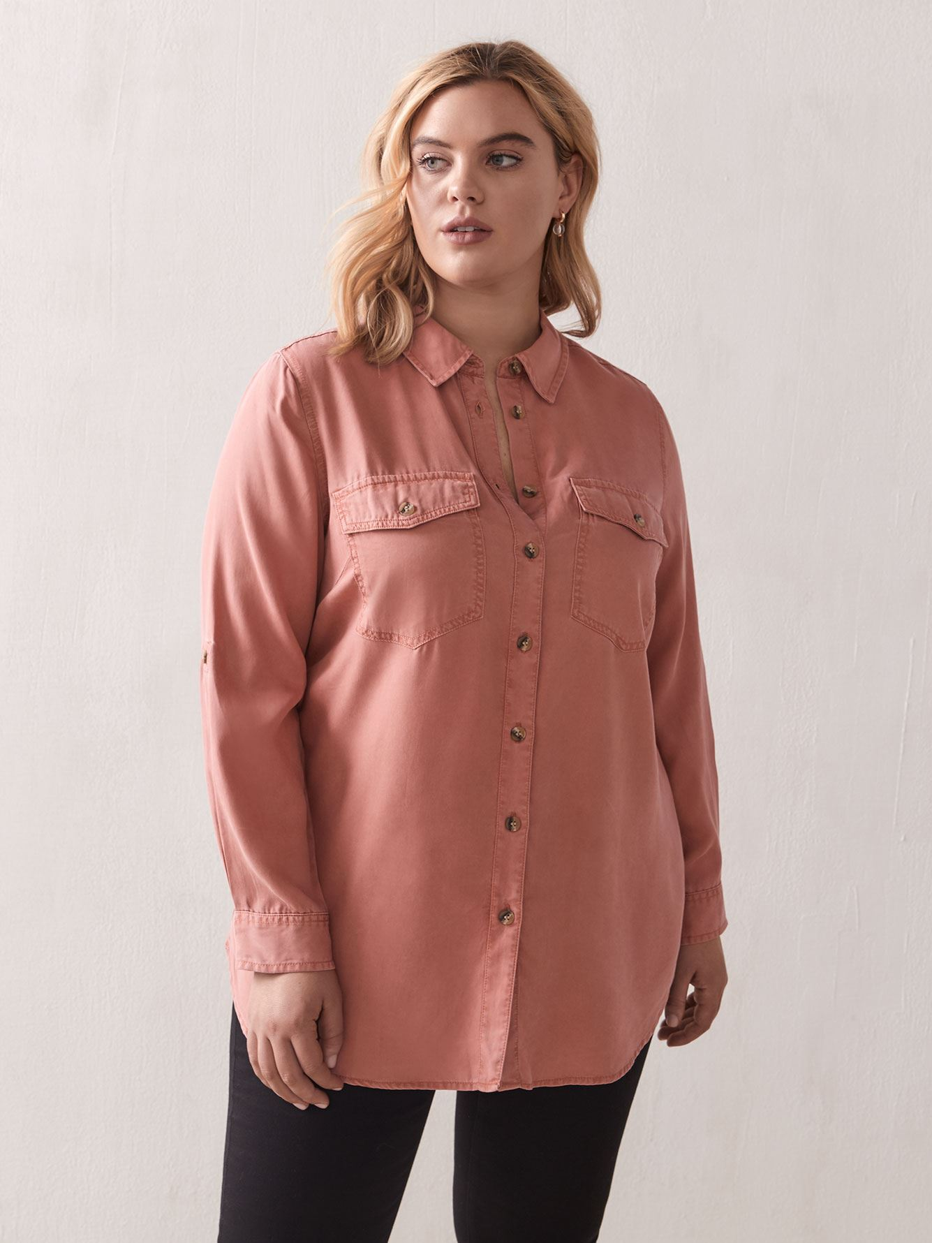 Button-Down Tunic Shirt - Addition Elle