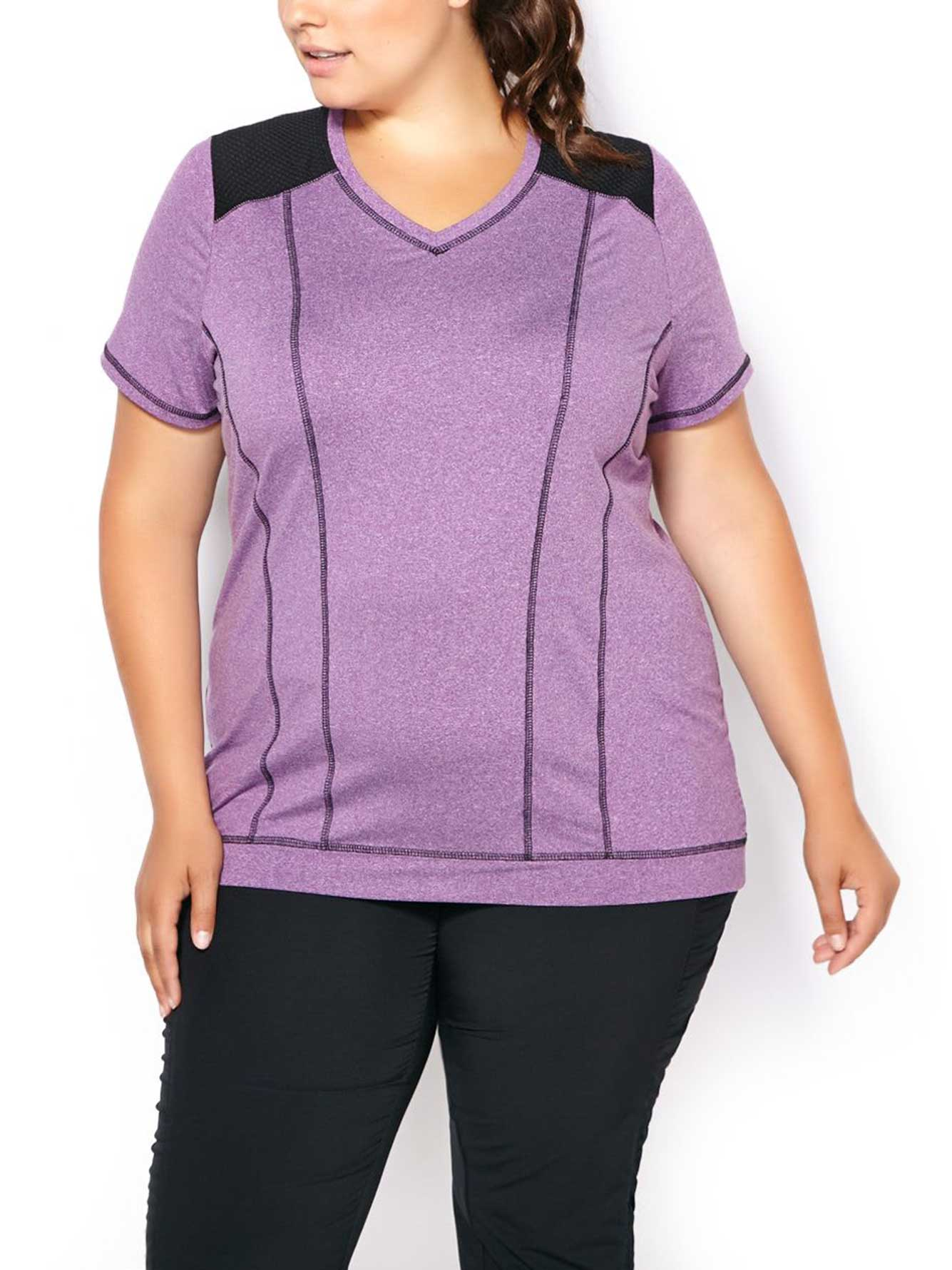 7b5af22b Essentials - Plus-Size V-Neck T-Shirt with Mesh | Penningtons