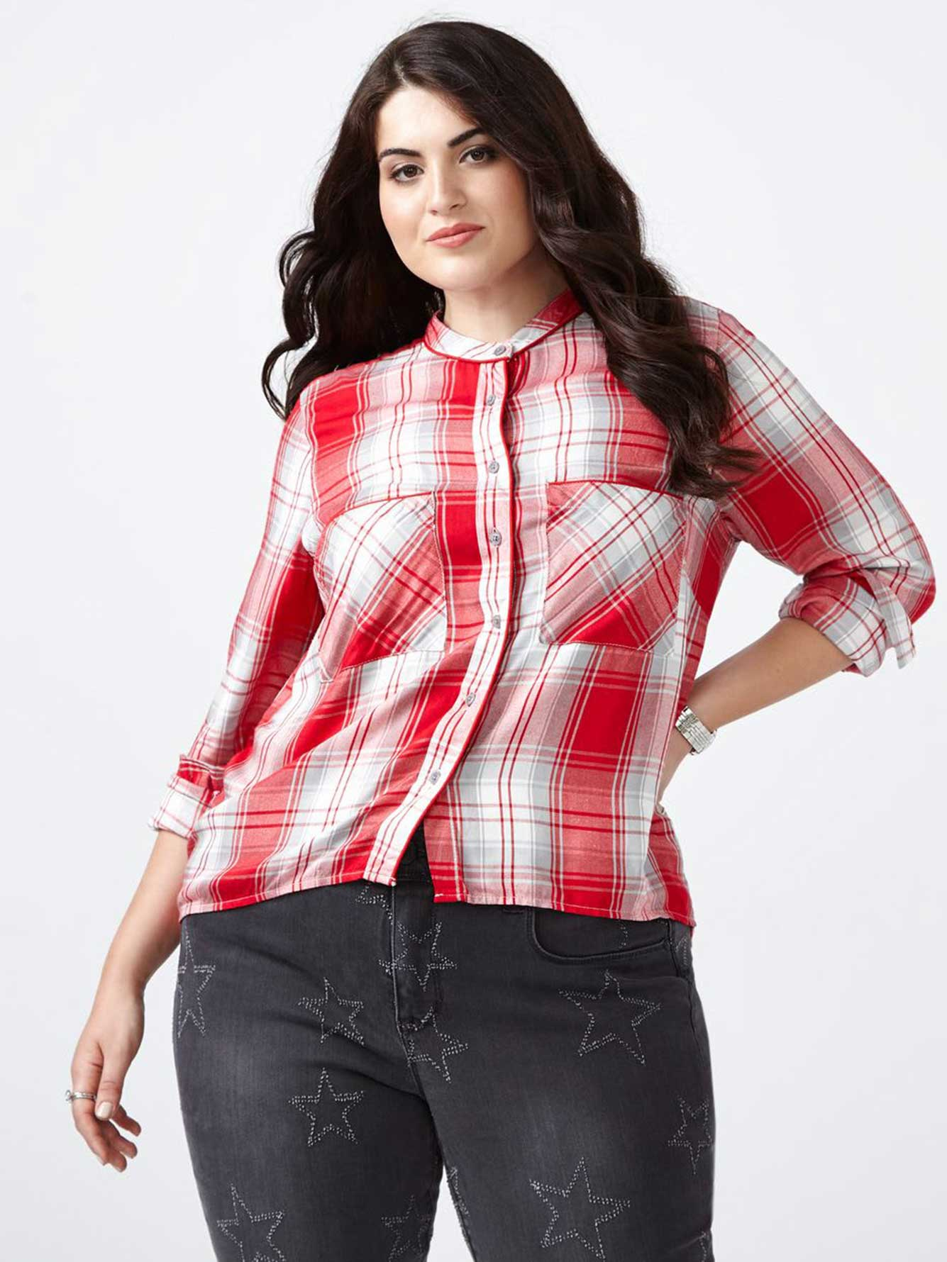 Melissa Mccarthy Long Sleeve Plaid Shirt Penningtons