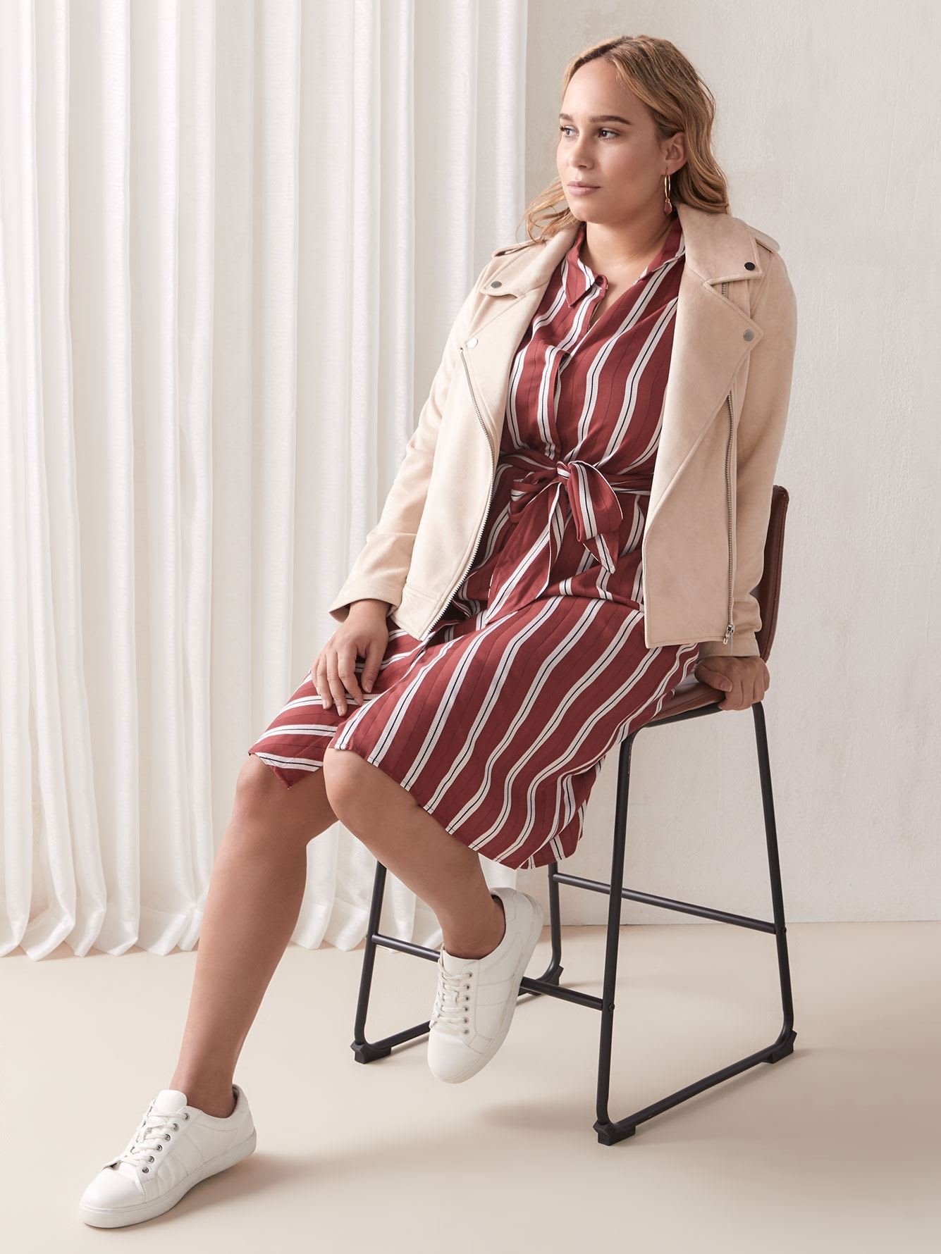 Tie-Waist Striped Shirt Dress - Addition Elle