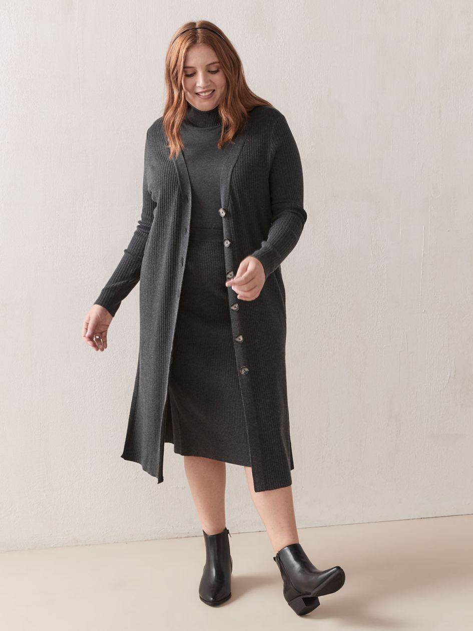 Long Sleeve Button-Front Tunic Cardigan - Addition Elle