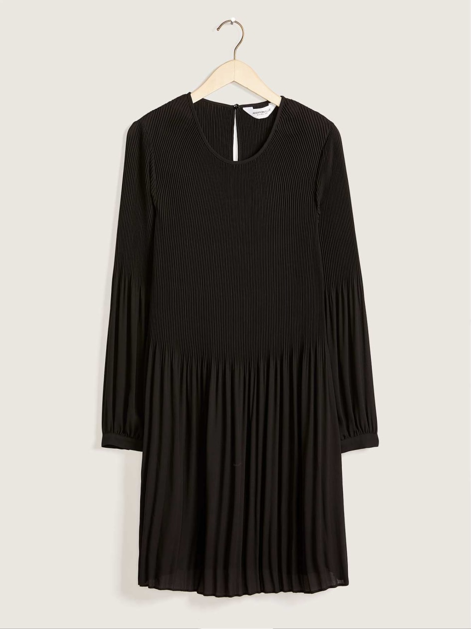 Woven Swing Dress With Cuffed Sleeves, Solid Colour - Addition Elle