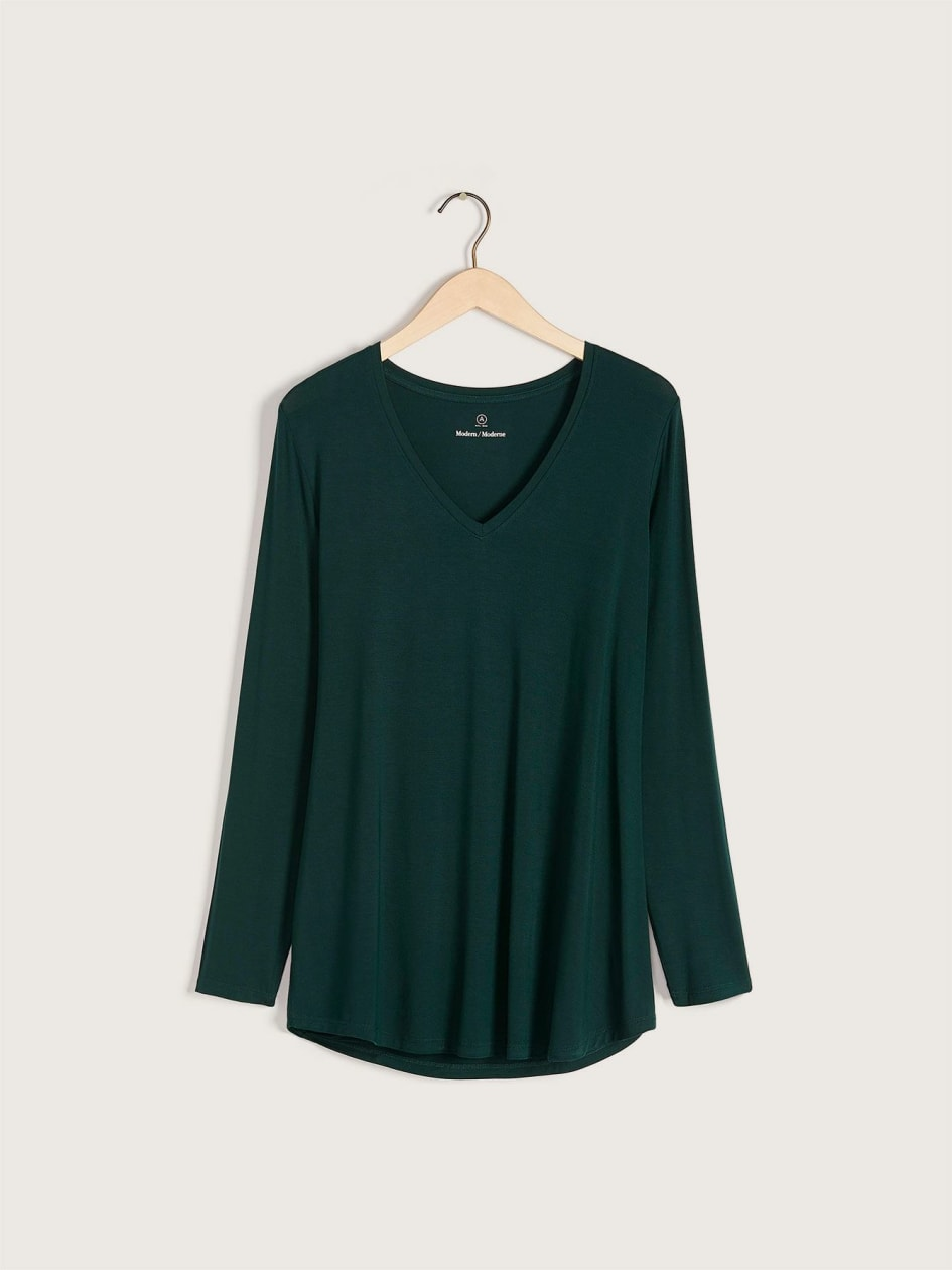 Long-Sleeve V-Neck T-Shirt - Addition Elle