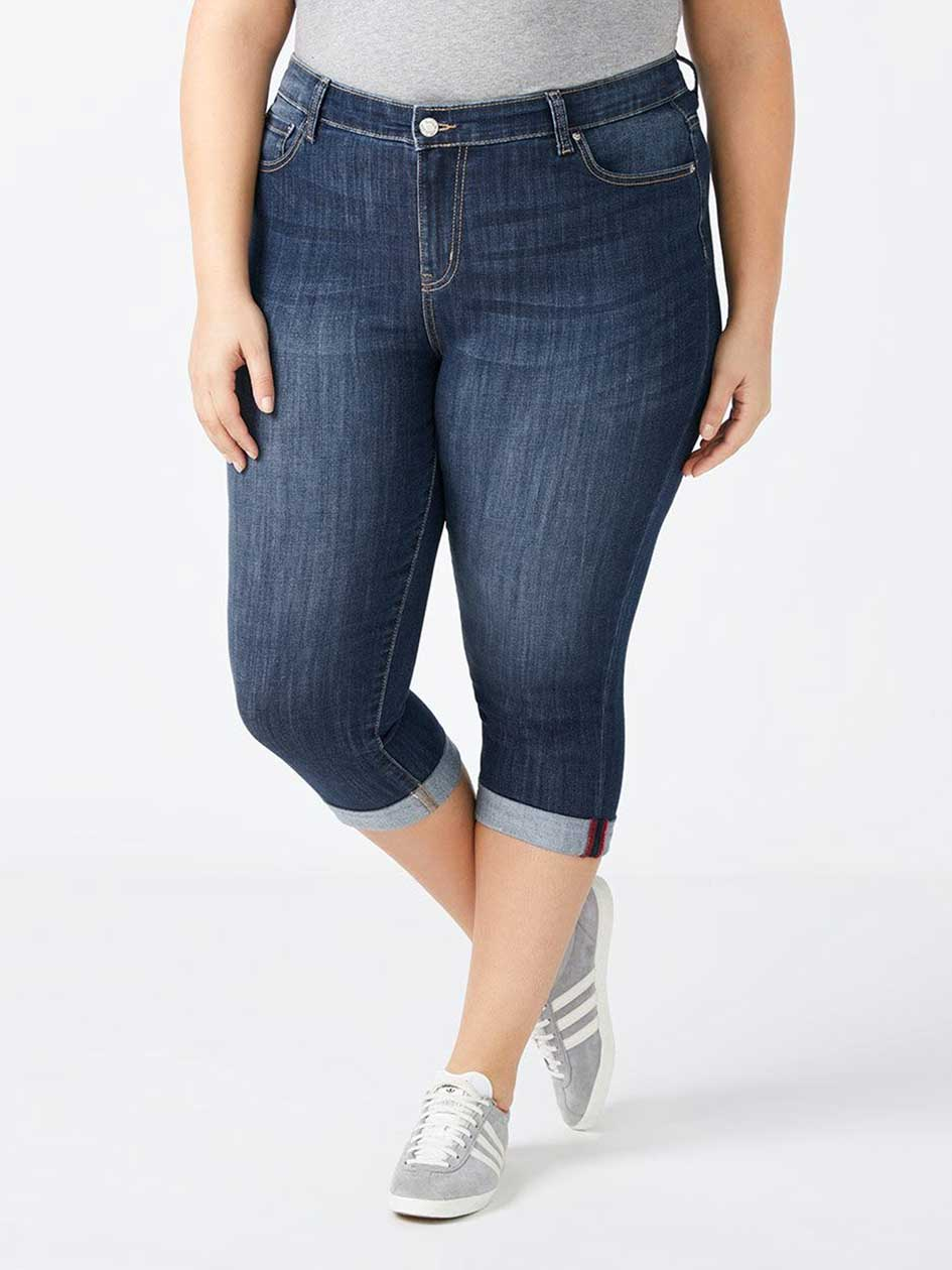 Straight Fit Denim Capri - d/C JEANS