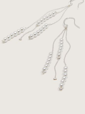 Long Chain Earrings with Pearls - Addition Elle