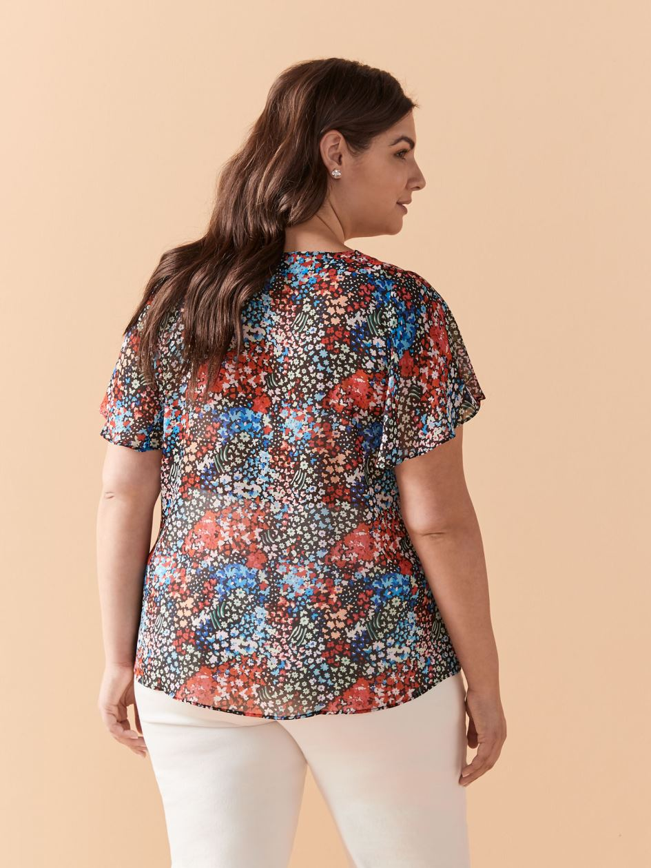 Printed Short Flutter Sleeve Blouse - In Every Story