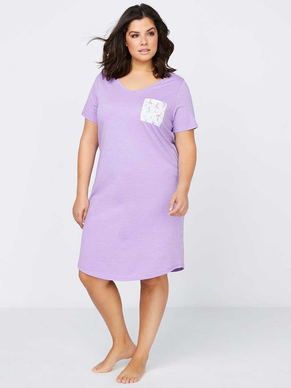 Printed Cotton Sleepshirt with Pocket - ti Voglio