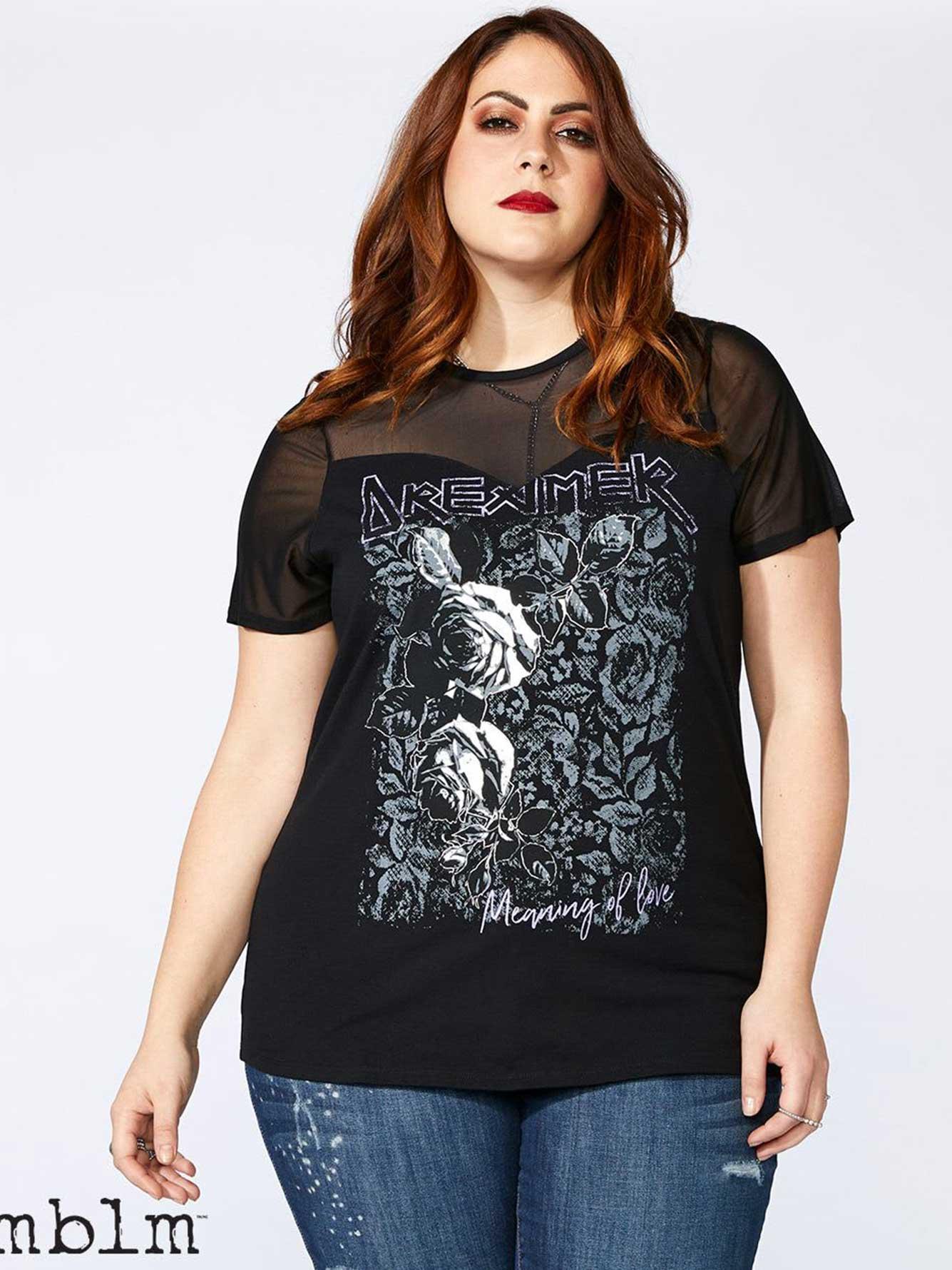 Printed T-Shirt with Mesh - mblm | Penningtons