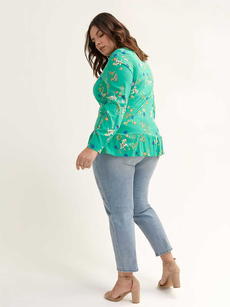 Printed Long Sleeve Blouse with Ruffles - In Every Story