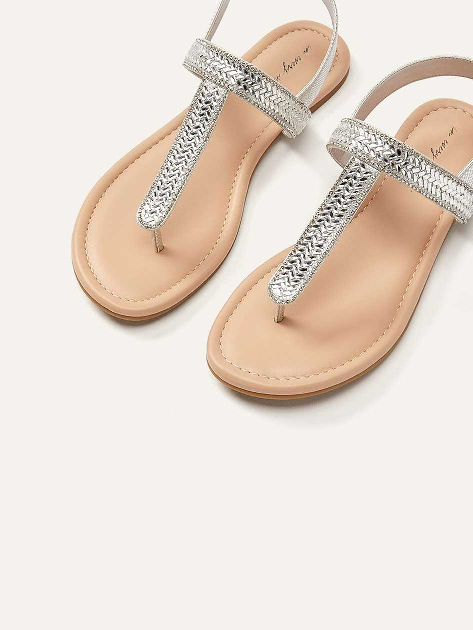 Wide Ankle Buckle Thong Sandals