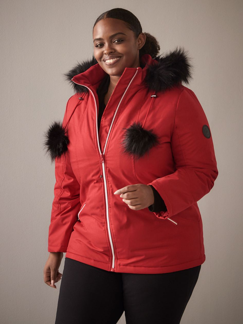 Hooded Ski Jacket with Pom Poms - ActiveZone