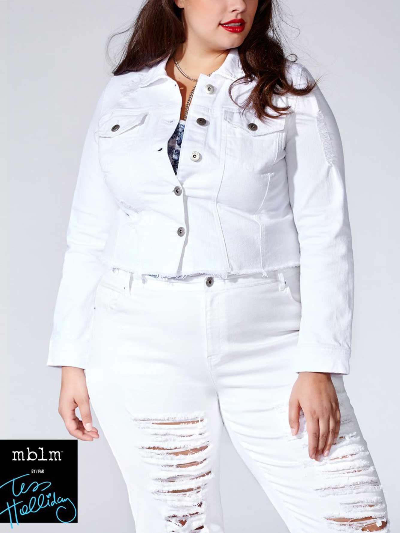 dd1c74df5de6 Tess Holliday - Cropped White Denim Jacket | Penningtons