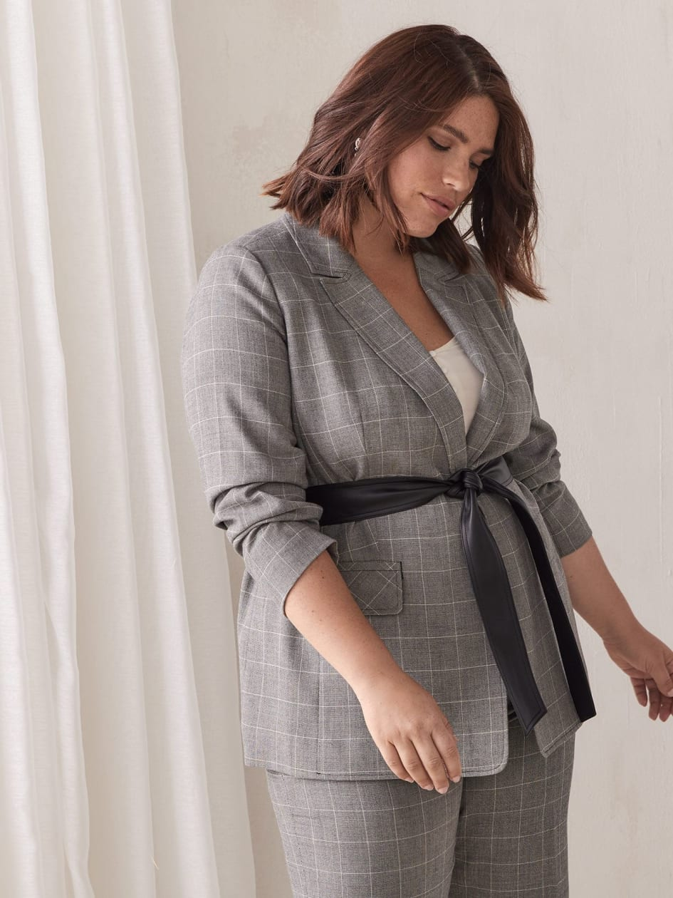 Belted Windowpane Blazer - Addition Elle