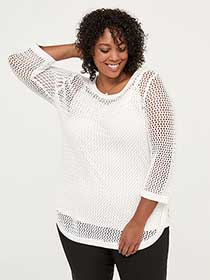 3/4 Sleeve Cotton Sweater with Open Stitching - In Every Story