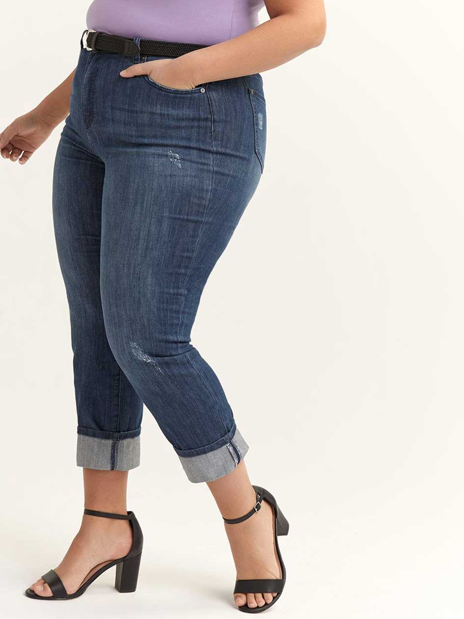 ONLINE ONLY - Tall Slightly Curvy Distressed Girlfriend Jean - d/C JEANS